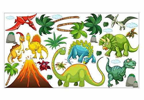 (nikima - 017 Wandtattoo Wandbild Kinderzimmer Dinosaurier T-Rex Urzeit Brachiosaurus - in 6 Größen - Kinderzimmer Sticker Babyzimmer Wandaufkleber niedliche Wandsticker süße Wanddeko Wandbild Junge Mädchen (1500 x 840 mm))