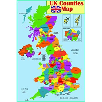 Map Of England With Counties And Major Cities.Tiger Moon Children S Illustrated Map Of The United Kingdom Paper