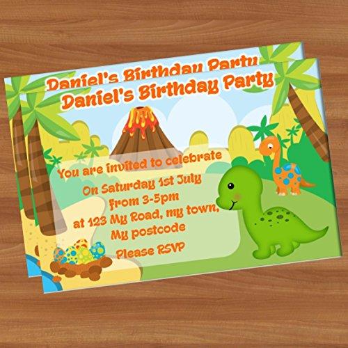 10invitaciones Fiesta Cumpleaños A6brillante pi22dinosaurios