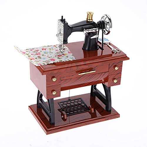 Anself Box meccanico stile creativo Vintage Mini macchina per cucire musicale regalo di compleanno