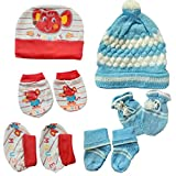 #6: Baby Basics - Woolen & Cotton Cap Mitten Booties Set (Red, Blue)
