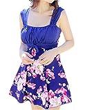 Wantdo Femme Maillots de Bain Une Pièce Imprimé avec Jupette Amincissant Grande Taille Robe de Plage Taille Haute Bleu&Fleur 44-46
