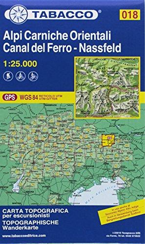 Alpi Carniche Orientali, Canal del Ferro, Nassfeld. Carta topografica in scala 1:25.000. Ediz. multilingue (Carte topografiche per escursionisti) por Tabacco Casa Editrice