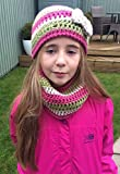 Handmade Crochet Girls Beanie Hat with Bow Embellishment - 6-10 years - Machine Washable