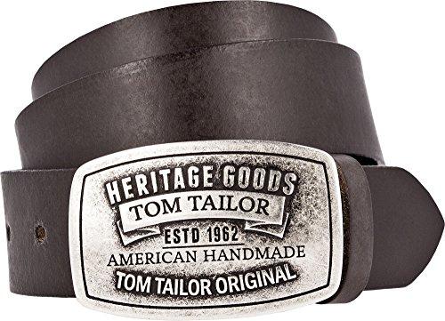 TOM TAILOR Herren Ledergürtel Made in Germany dunkelbraun 85