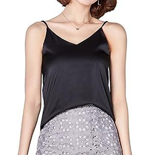 Andux Zone Camisole Unterhemd Frauen Satin Basic Full Slip V Neck Ärmellos Side Split Tops Fashion Tank T-Shirt SS-DDBX-01 (S, Black)