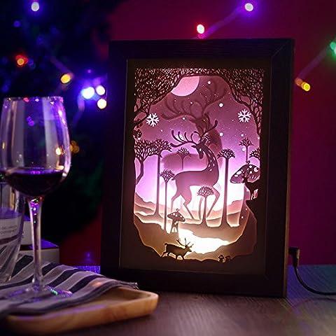 CLG-FLY Luz papel tridimensional silueta tallada mesa de luz Noche de Luz lámpara de mesilla dormitorio Salón decoración decoración ideas regalos Regalos,Púrpura Moose-caja negra,interruptor pulsador