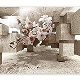 murando - Fototapete 3D 350x256 cm - Vlies Tapete - Moderne Wanddeko - Design Tapete - Wandtapete - Wand Dekoration - optische Täuschung Illusion Blumen Orchidee b-C-0029-a-b