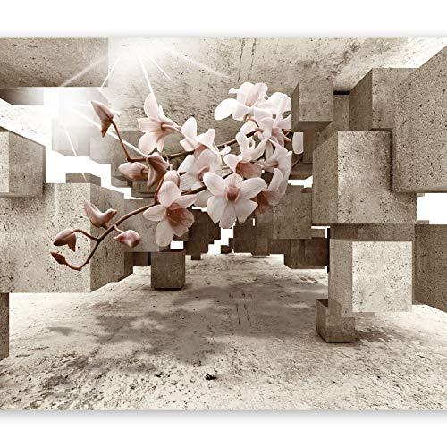 *murando – Fototapete 3D 400×280 cm – Vlies Tapete – Moderne Wanddeko – Design Tapete – Wandtapete – Wand Dekoration – optische Täuschung Illusion Blumen Orchidee b-C-0029-a-b*