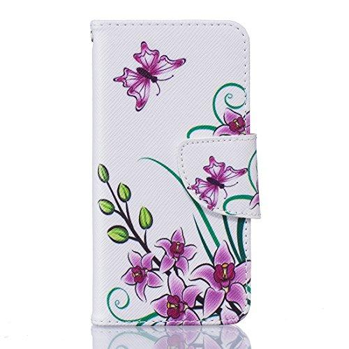 Nancen Apple iphone 7 (4,7 Zoll) Premium Leder Flip Handyhülle / Wallet Case, Blumen Landschaften Tiere und Bunt Printed Muster - Bookstyle Cover Schutzhülle mit Standfunktion, Brieftasche und Karte T Lila Schmetterling
