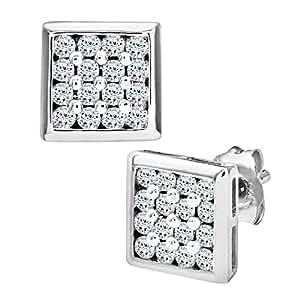 Naava - Boucles d'oreille - Homme - Or blanc (9 carats) 0.94 Gr - Diamant 0.2 Cts