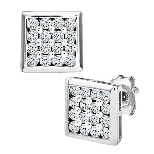 Pendientes rectangulares con 16 diamantes y oro blanco de 9 quilates para hombre
