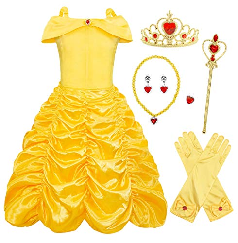 4af06bdc1310c AmzBarley Princess Belle Costume Layered Dress for Kids Girls Halloween  Cosplay Birthday Holiday Fancy Party Dressing up Dresses Childs Outfit,  Yellow ...