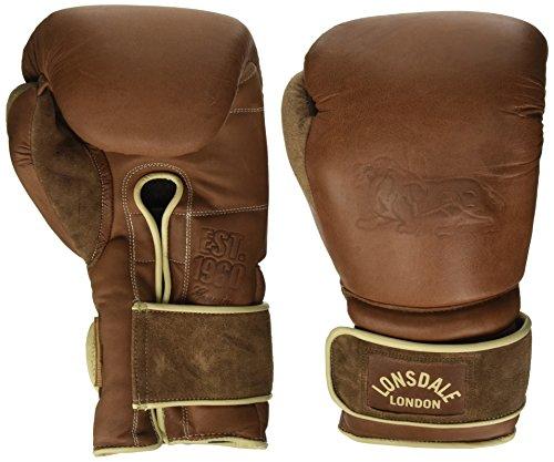 Lonsdale Erwachsene Vintage Trainingshandschuhe, braun, 18 oz - Leder Vintage Boxhandschuhe