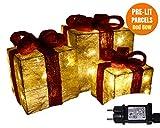 Pacco regalo luminoso, SET 3 Pacchi Regalo Luci, Confezione Regalo Glitterata, Addobbi pacchi regalo luminosi, Regali di Natale, Luci natalizie, Scatola Regalo con Nastro Rosso, Illuminato con 55 LED