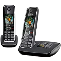 "Gigaset C530A DUO Cordless Phone (Pack of 2) & 1 Answering Machine, 1.8"" TFT Color Screen, 320 Hr Standby, Speaker, 50M Indoor-300M Outdoor Range, 30 Ringtone, Made in Germany, DECT, Black"