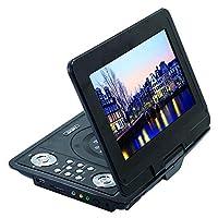 """Portable DVD Player 10.2""""Swivel Screen, Support 3D Movie Playback, Region Free, Long Lasting Battery, Support AV-In/AV-Out/SD/USB (Black)"""