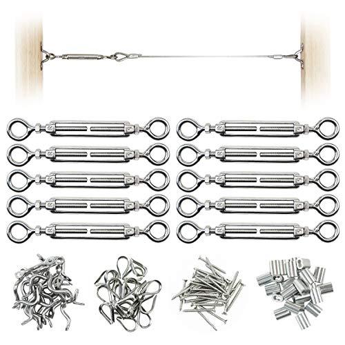 Muzata CK01 Serie CA1 Kabelgeländer aus Edelstahl für 0,8 cm Kabel, DIY Balustrade Kit mit Augenauge Spannschnallen, Augenriemen, 10 Stück -
