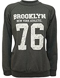WearAll - Brooklyn 76 USA Print Long Sleeve Sweat-shirt Top - Pullover - Femmes - Tailles 36 à 42