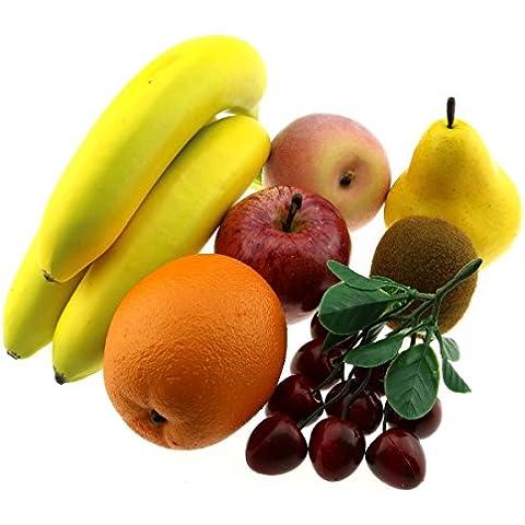Moving Box Artificiale Pera mela Banana pesca Kiwi arancia ciliegia Bunche Decorazione Falso Frutta