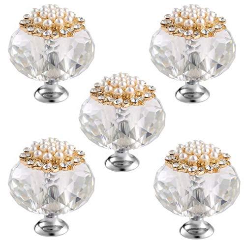 FBSHOP(TM) - Pomos de cristal de 40 mm, aleación de cinc, para muebles, cómodas, cajones, armarios, armarios, 5 unidades