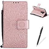 LG G4 Funda,LG G4 Billetera Carcasa,MAGQI Lujo Suave PU Cubierta de Cuero Grabado en Relieve Mandala Girasol Serise Diseño Función de Soporte Cáscara con Cierre del Imán Ranuras para Tarjetas de Crédito Correa de Mano Bulit-in Interior Suave TPU Protector Cubrir para LG G4 + 1 * Negro Aguja - Oro rosa