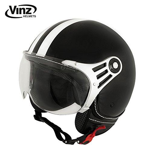 Vinz Rollerhelm Jethelm Fashionhelm | Roller Jet Helm mit Streifen | in Gr. XS-XL | Motorradhelm mit Visier | ECE zertifiziert (L, Schwarz)