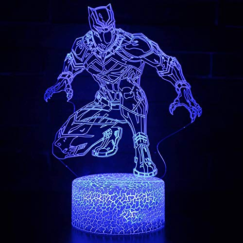 isual 7 Color Black Panther Nightlight Super Hero Desk Lamp Usb Creative Atmosphere Lighting Fixture Child Birthday Gift ()