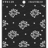 """thecraftshop CrafTreat Mini Rose Background Reusable Template Stencil for Art and Craft, Mixed Media, Wall Painting, Home Decor, DIY Albums, Card Making (6""""X6"""")"""