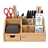 HOMFA Bambus Aufbewahrungsboxen Organisator Schreibtisch Ordnungsbox Officebox 25x15x11cm(1 Ablage)
