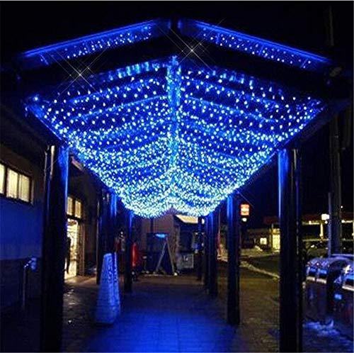 He-shop Fairy Net Light, 8 Mode Led wasserdichte Outdoor Indoor Wohnzimmer Garten Weihnachten Vorhang Garten Dekoration Licht Post Lampe Perlen 3 × 2 mt Blue