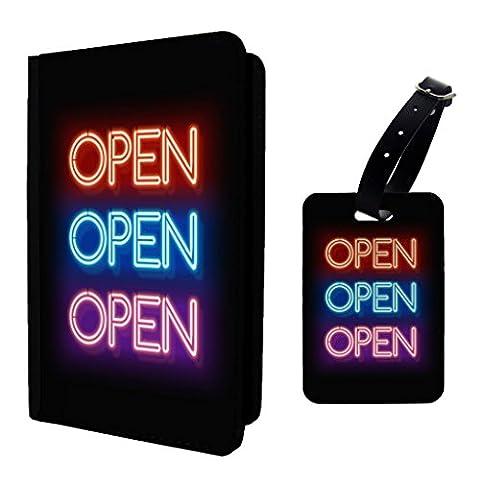 Open Neon Sign étiquette de bagage et passeport–S318
