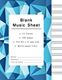 Blank Music Sheets: Music Manuscript Paper, Staff Paper, Musicians Notebook 12 Staves,100 pages (blank music notebook, blue geometric cover)