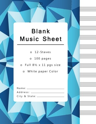 Blank Music Sheets: Music Manuscript Paper, Staff Paper, Musicians Notebook 12 Staves,100 pages (blank music notebook, blue geometric cover) (Musik-manuscript Notebook)