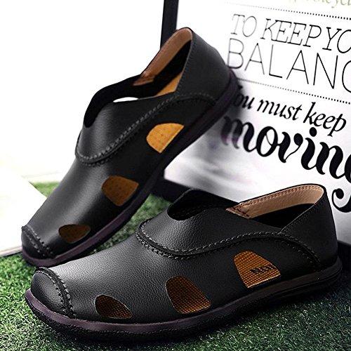 Männer Leder Sport Sandalen Front Paket Einfache Wasser Schuhe Sommer Soft Cowhide Beach Schuhe Black