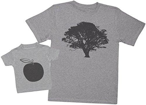 Zarlivia Clothing Tree and Apple - Ensemble Père Bébé Cadeau - Hommes T-Shirt & T-Shirt bébé - Gris - L & 1-2 Ans