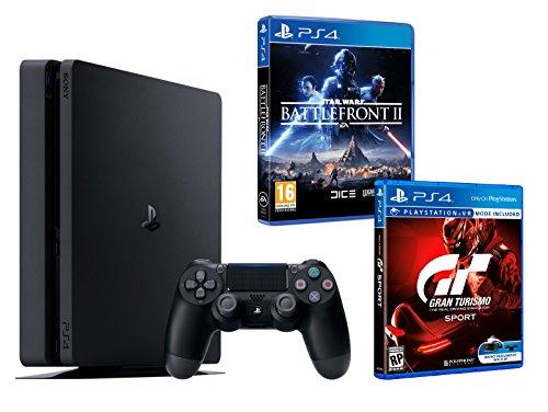 """PS4 Slim 1To Noir Playstation 4 PACK 2 jeux - Star Wars: Battlefront 2 + Gran Turismo Sport """"GT Sport"""""""