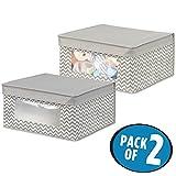 mDesign 2er-Set Baby Organizer - Aufbewahrungsbox für Babysachen, Decken etc. - auch zur Spielzeug Aufbewahrung geeignet - taupe/natur
