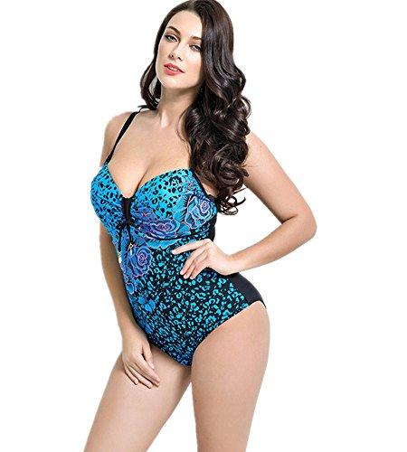 ZOYOL-YT Großes Stück Blumen-Badeanzug mit Brust-Auflage-Strand-Badebekleidung Blue