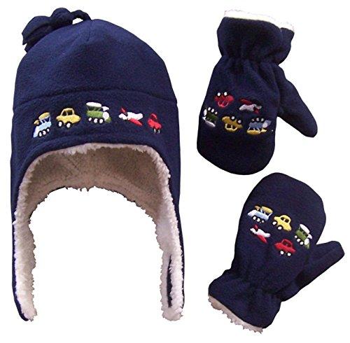 N 'ice Caps - Conjunto de gorro con orejeras y manoplas, de forro polar, con borreguito en el interior, ideales para el invierno, para niños y bebés - Azul - 4-7 Años