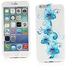 "Kit Me Out ES Funda de Gel TPU para Apple iPhone 6 Plus 5.5"" pulgadas - Blanco / Azul Floral"