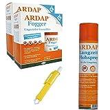 ARDAP Set 1 x 400 ml Flohspray + 4 x 100 ml Fogger gegen Flöhe + Zeckenzange