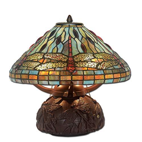 16 Zoll Tiffany Stil Glasmalerei Tischlampe, Shop Dekoration Lampe, kreative Libelle Design Schlafzimmer Nachttischlampe Licht für Schlafzimmer Studie Lesebüro, 60W