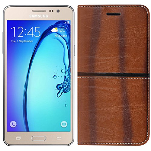 (Buy 1 Get 1 Tempered Glass Free) Roxel Samsung Galaxy On7 Rich Boss Leather Flip Cover With [ Stand View & Card Holder Option ] Leather Flip Cover for Samsung On7/Samsung On7 Pro - Texture Light Brown