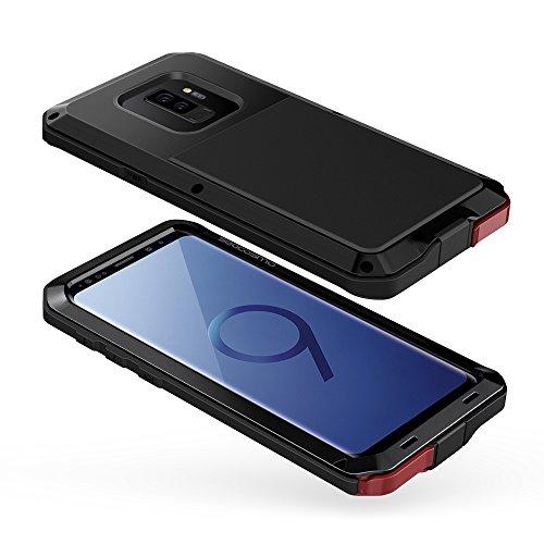 seacosmo Galaxy S9 Plus Hülle, [Tough Armor] Aluminium Doppelte Schutz Stoßfest Schutzhülle für Samsung Galaxy S9+, Schwarz