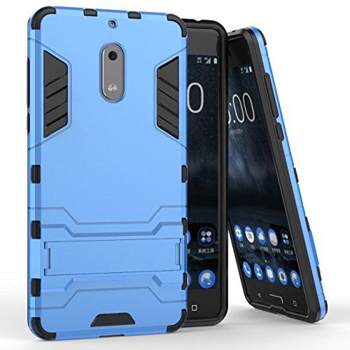 YHUISEN Nokia 6 Case, 2 In 1 Iron Armour Tough Style Hybrid Dual Layer Armor Defender PC + TPU Schutzhülle mit Stand Shockproof Case für Nokia 6 ( Color : Gold ) Blue