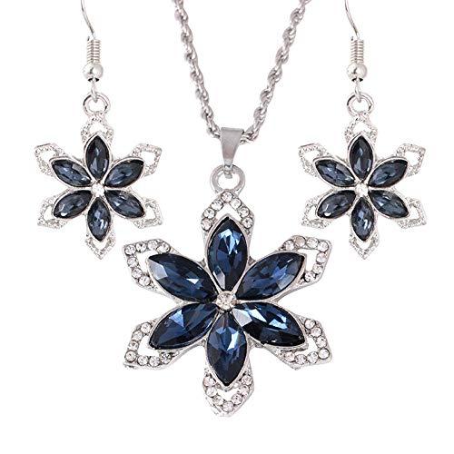 YDMSGSB Braut Halskette Temperament Blume Ohrringe Set Diamant Ohrringe Zwei Sätze Von Damen Anhänger Hochzeitsbankett Schmuck-Set - Blume-bett-satz