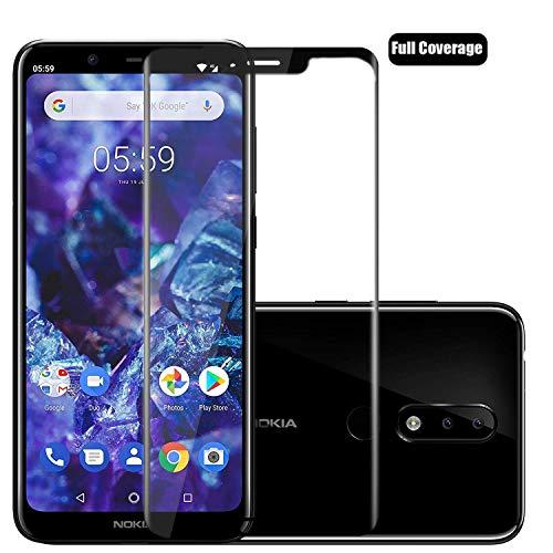Voviqi Nokia 5.1 Plus Panzerglas, Hüllenfre&lich Vollständige Abdeckung Schutzfolie gehärtetem Glas Folie Blasenfrei Volle Abdeckung Bildschirmschutzfolie für Nokia 5.1 Plus (Schwarz)