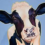 Artland Qualitätsbilder I Bild auf Leinwand Leinwandbilder Wandbilder 70 x 70 cm Tiere Haustiere Kuh Mixed Media Blau A3NC Kuh Trudi