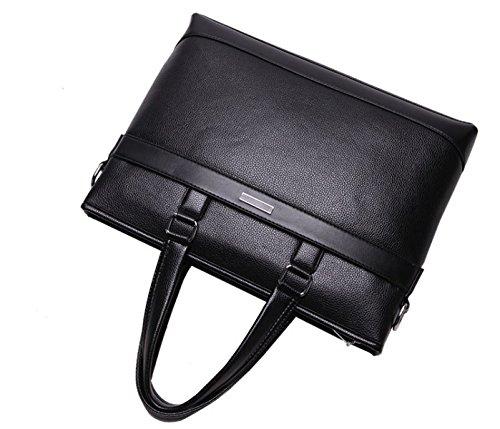 Herren PU Leder Aktentasche Business Bag Schulter Umhängetasche Casual Computer Tasche Darkbrown